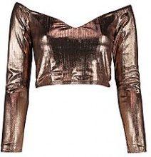 Lottie Long Sleeve Off The Shoulder Metallic Crop