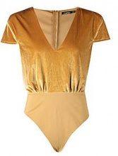 Kayla Velvet Shoulder Pad Plunge Bodysuit