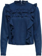 ONLY Frill Denim Shirt Women Blue