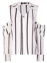Nina Stripe Cold Shoulder Shirt