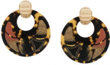 Gas Bijoux - Shagreen hoop clip-on earrings - women - 24kt Gold Plate/Acetate - OS - BROWN