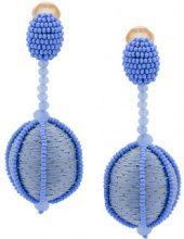 Oscar de la Renta - single line dropped ball clip-on earrings - women - Silk/Brass/glass - OS - BLUE