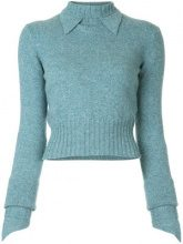 Chanel Vintage - pointed collar slim jumper - women - Cashmere - 38 - BLUE