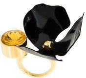 Marni - flower ring - women - Brass/glass - L - BLACK