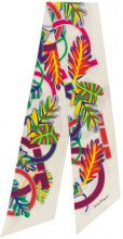 Salvatore Ferragamo - Sciarpa 'Tropical Gancini' con stampa - women - Silk - One Size - WHITE