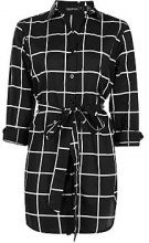 Petite Cindy Tie Waist Checked Shirt Dress