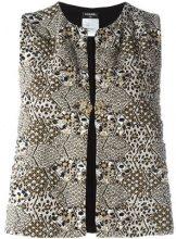Chanel Vintage - jacquard waistcoat - women - Silk/Cotton - 40 - BLACK