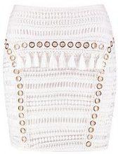 Harper Woven Crochet Tassle Eyelet Mini Skirt