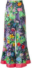Gucci - printed flared trousers - women - Silk - 42 - PINK & PURPLE