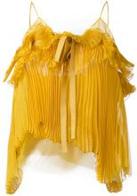 Rochas - Top a canottiera plissettato - women - Silk/Polyamide - 42 - YELLOW & ORANGE