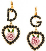Dolce & Gabbana - Orecchini pendenti con rosa - women - Brass/Crystal/Resin - OS - METALLIC