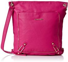 SwankySwansEva Zipper Messenger School Pu Leather - Borsa a tracolla Donna, Rosa (Pink (Fuschia)), Taglia unica