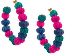 Carolina Herrera - raffia beads earrings - women - Bronze/Raffia - OS - PINK & PURPLE
