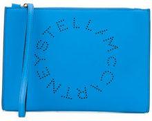 Stella McCartney - Pochette con logo - women - Polyurethane - One Size - BLUE