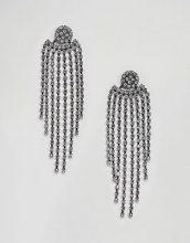 ASOS - Orecchini vistosi con goccia di cristallo sul davanti e sul retro - Argento