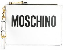 Moschino - Clutch con logo stampato - women - Leather - OS - Bianco