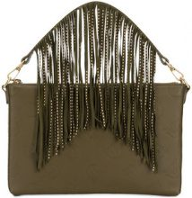 Pinko - logo embossed fringe clutch bag - women - Leather - OS - GREEN