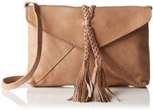 PIECES Pcaxelle Leather Cross Over Bag - Borse a spalla Donna, Braun (Nature), 3x15x22 cm (L x H D)
