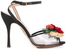 Charlotte Olympia - floral sandals - women - Leather/Canvas/Plastic/PVC - 36, 38, 37, 37.5 - Nero