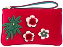Alila - Borsa clutch con fiore applicato - women - Velvet/Neoprene - OS - RED