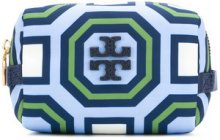 Tory Burch - printed small cosmetic case - women - Leather/Polyester - OS - BLUE