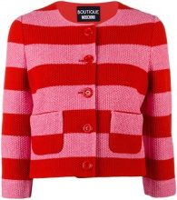 Boutique Moschino - striped cropped jacket - women - Cotton/Polyimide - 42, 46, 48 - RED