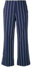 Fay - pinstripe trousers - women - Cotton/Polyamide/Spandex/Elastane - 42 - BLUE