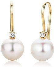 Miore Orecchini Donna Pendenti Perle di fiume Diamanti taglio Brillante ct 0.06 Oro Giallo 18 Kt/750