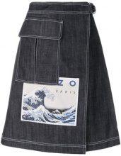 Kenzo - Hokusai Wave denim skirt - women - Cotton - 36, 38, 34, 40 - BLUE