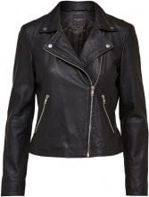 SELECTED Lamb - Leather Jacket Women Black