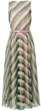 Vivetta - Vestito svasato a righe - women - Polyester - 38 - GREEN