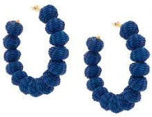 Carolina Herrera - raffia beads earrings - women - Raffia/Bronze - OS - BLUE