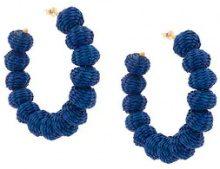 Carolina Herrera - raffia beads earrings - women - Raffia/Bronzo - OS - Blu