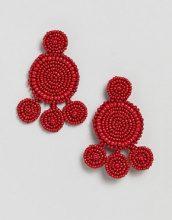 Pieces - Vistosi orecchini pendenti di perline - Rosso
