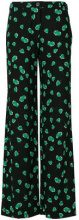 Miu Miu - Pantaloni con stampa fragole - women - Polyester/Spandex/Elastane/Viscose - 40, 44, 42 - BLACK