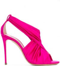 Casadei - crossover strap sandals - women - Leather/Silk Satin - 35, 35.5, 36, 36.5, 37, 37.5, 39, 39.5, 40, 40.5, 38 - PINK & PURPLE