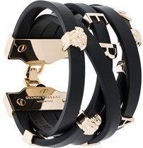 - Versace - Braccialetto 'Medusa'con logo - women - metal/Leather - L, M, S - Nero