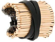 Federica Tosi - Bracciale rigido 'Stick' - women - Leather/Brass - OS - BLACK