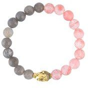 Nialaya Jewelry - braccialetto 'Buddha' con perline - women - quartz/Labradorite/Gold Plated Sterling Silver - XS, S, M, L - PINK & PURPLE