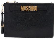 Moschino - Borsa clutch con logo - women - Leather - One Size - BLACK