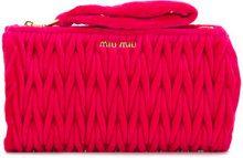 Miu Miu - Clutch con trama intrecciata - women - Velvet - One Size - PINK & PURPLE