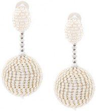 Oscar de la Renta - beaded drop earrings - women - Nylon/Brass/glass - OS - WHITE
