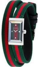 Gucci - Orologio 'G-frame' - women - stainless steel/Leather/Polyester - One Size - GREEN