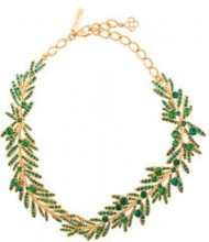Oscar de la Renta - tropical palm necklace - women - Brass/Pewter/glass - OS - GREEN