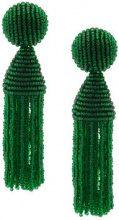 Oscar de la Renta - short beaded tassel earrings - women - Nylon/Brass/glass - OS - GREEN