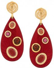 Gas Bijoux - Orecchini a clip 'Verone' - women - 24kt Gold Plate/Leather/glass - OS - RED