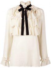 Gucci - camicia con fiocco e dettagli arricciati - women - Silk/Viscose/Cotone - 40, 42, 44, 38 - NUDE & NEUTRALS