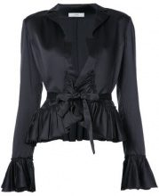 Tome - tie blouse with frills - women - Viscose Crepe - XS, S, L, M - BLACK