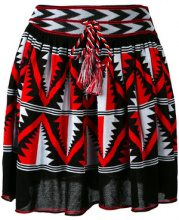 Laneus - intarsia A-line skirt - women - Cotton/Viscose - 42 - BLACK