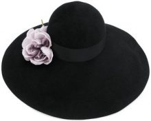 Gucci - Cappello a falda larga con fiore decorativo - women - Rabbit Fur Felt/Silk/Viscose/Cotton - M, S - BLACK